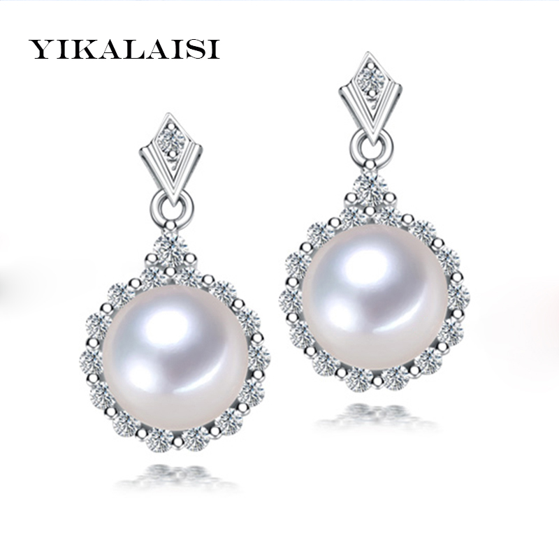 YIKALAISI 2017 100% Natural Freshwater Pearl Jewelry long Earrings 925 Sterling Silver Jewelry 11 12 MM Big Pearl For Women