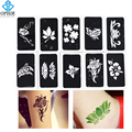 OPHIR 10 pcs Reuse Henna Temporary Tattoo Stencils/Airbrush Stencils for Body Painting Glitter Tattoo Template Sheets _TA032A