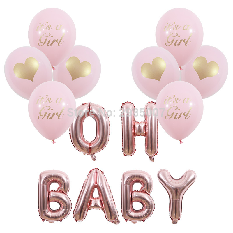 baby shower balloon oh baby/ its a girl/its a boy printed balloons Gender Reveal party decorations rose gold OH BABY ballons