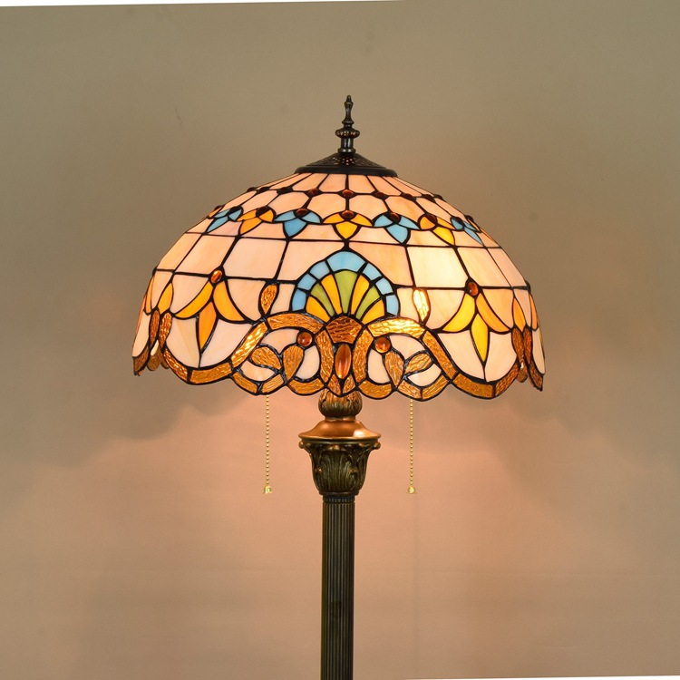 16inch Tiffany Baroque Stained Glass floor lamp E27 110-240V for Home Parlor Dining bed  ...