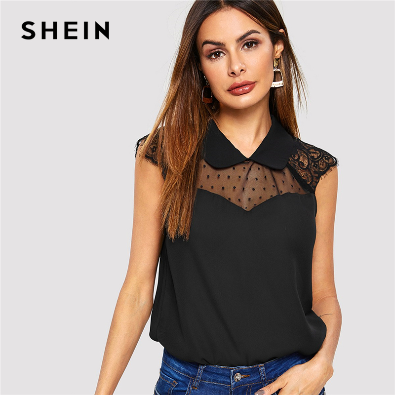 SHEIN Black Mesh And Lace Insert Shell Top Lapel Solid Blouse Casual Sleeveless Women Summer Plain Workwear Tops And Blouses