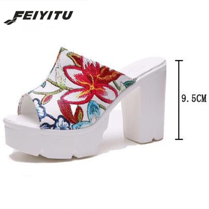 FeiYiTu 2019 Lady Embroidered High Heels Summer platform Open Toe slipper Women Shoes New Arrival Wedges high heel slipper in Slippers from Shoes