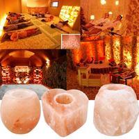 Hot Sale Crystal Salt Candle Holder Lamp Table Bedroom Rock Glass Shape Natural Stone Shape Heart
