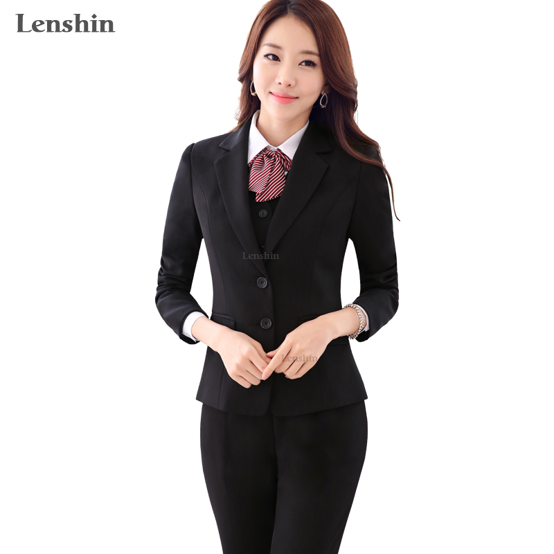 Lenshin 2 Pieces Set Women Standard Pant Suits Business Office Lady Work Wear Formal Female Two Button Blazer With Pant