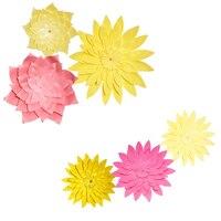 HAOCHU 6pcs Set Big Pink Yellow Daisy Paper Flowers DIY Decorative Hanging Crafts For Wedding Show