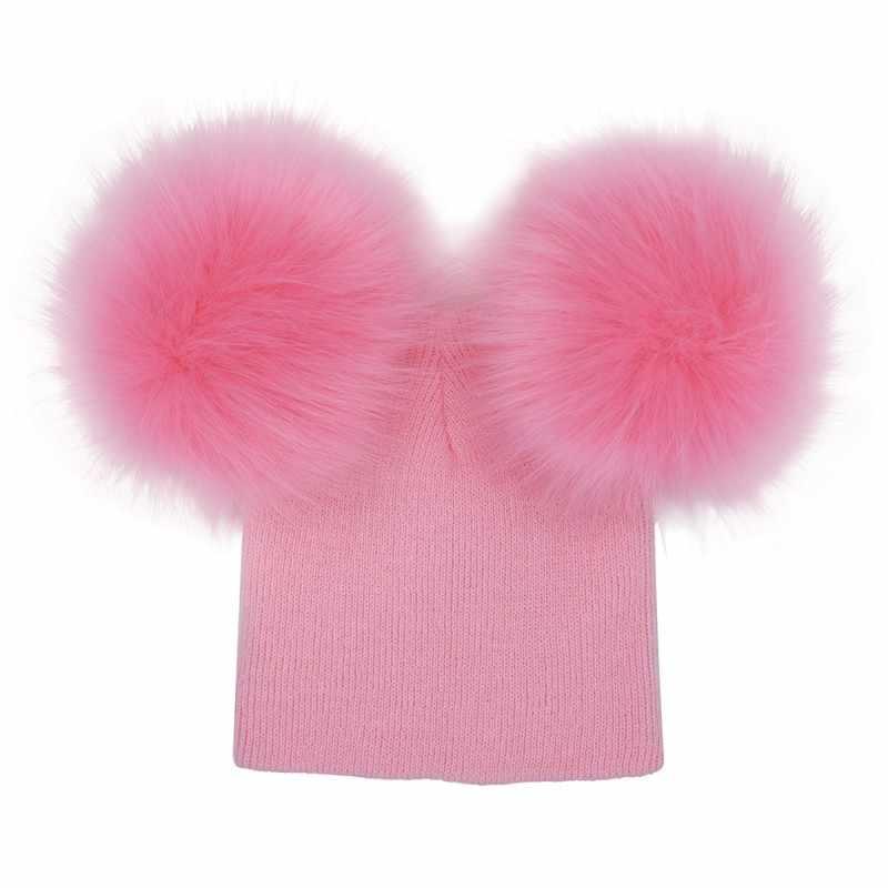Осень-зима маленьких Обувь для девочек Обувь для мальчиков теплые шапки Bebe Искусственный мех помпонами дети трикотажные шапочки Шапки m2