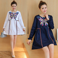 New Pregnant women dress of round collar embroidery butterfly  long-sleeved maternity dresses