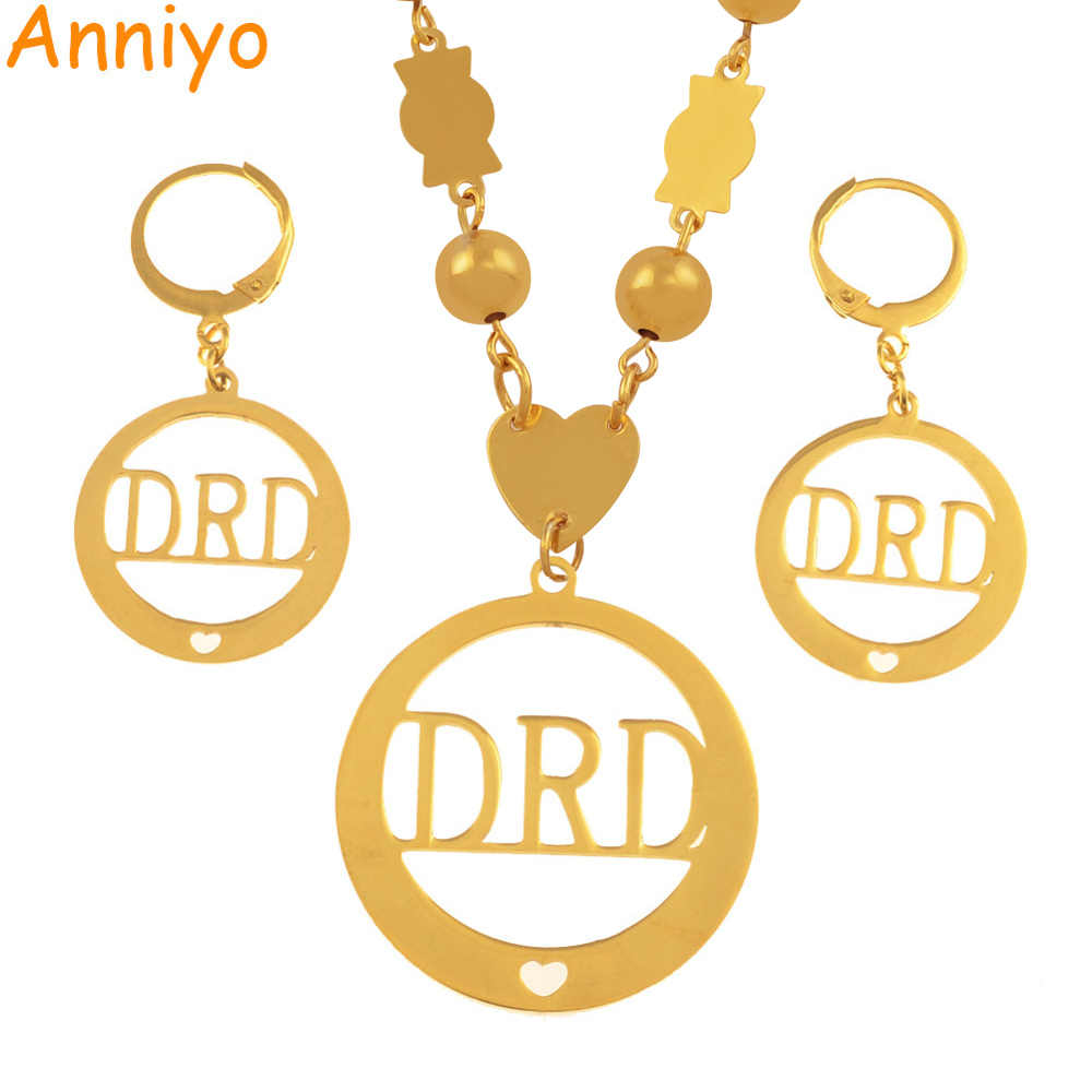 Anniyo Name DRD Jewelry sets With Beads Pendant Necklaces and Earrings for Women Marshall Styles Gifts #036321S