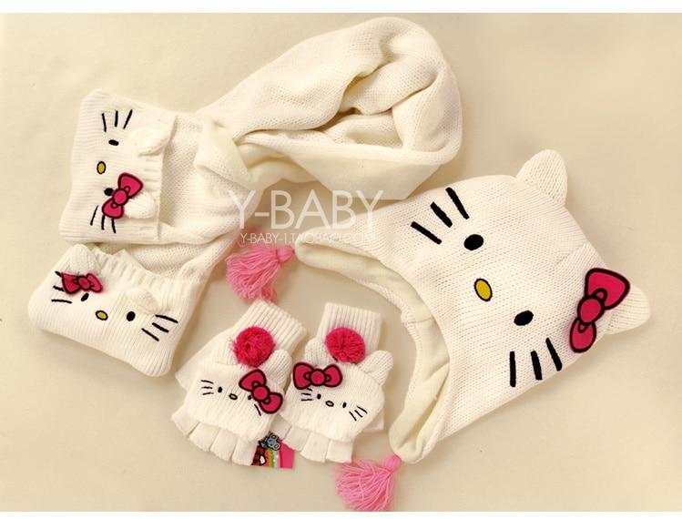 Hello Kitty Childrens Girls Winter Hat and Gloves Set