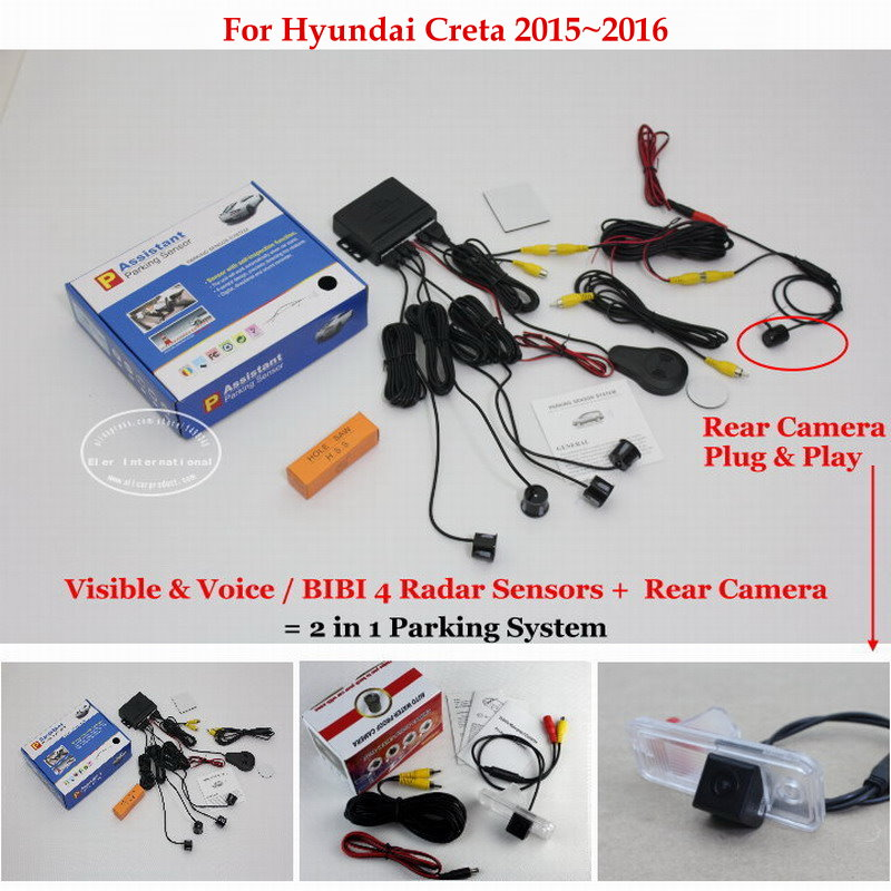 Liislee For Hyundai Creta 2015~2016 - Car Parking Sensors + Rear View Back Up Camera = 2 in 1 Visual / BIBI Alarm Parking System