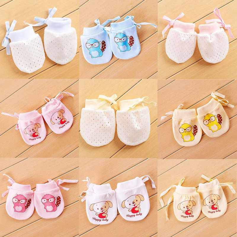 1 Pair Unisex Ice Silk Soft Fashion Cute Baby Anti Scratching Gloves Protection Face Newborn Adjustable Mittens Clothing