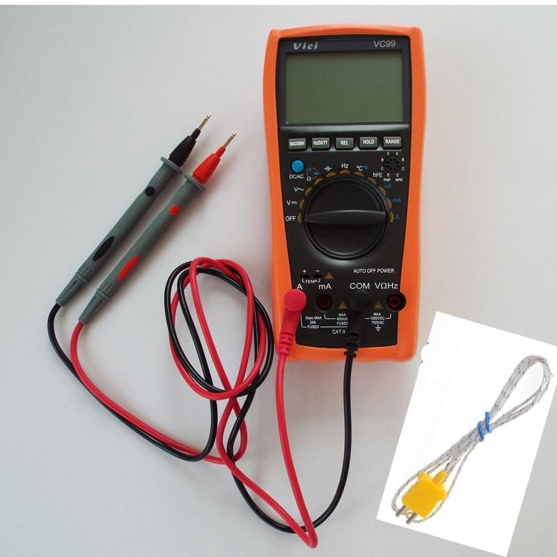ФОТО 1pcs vichy Vici VC99 3 6/7 Auto range digital multimeter & Thermal Couple TK cable