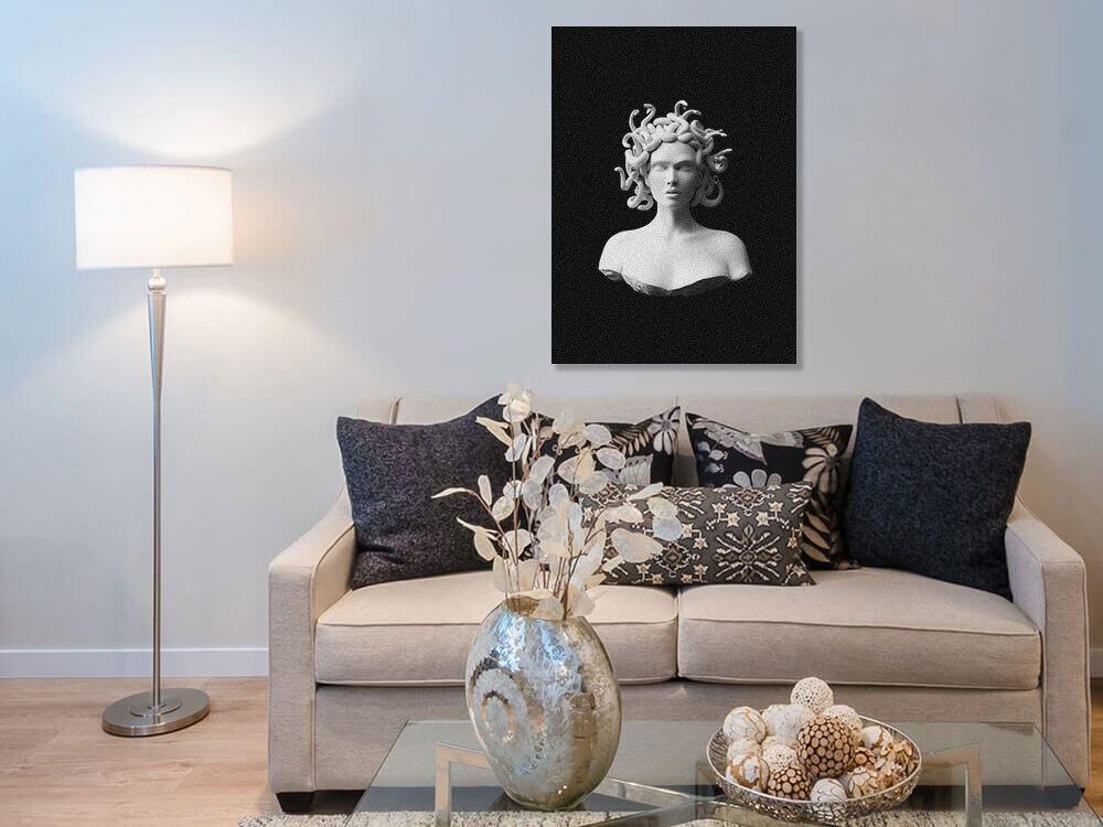 Medusa Gorgon Plaster statue nordic modern portrait Home living Room Bedroom Decor Print Poster Picture Painting