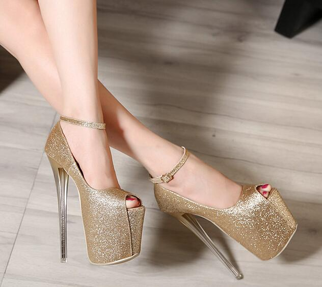 10-free shipping 2015 European vogue peep toe club shoes women high heels girls sexy buckle sequined cloth platform pumps 19cm