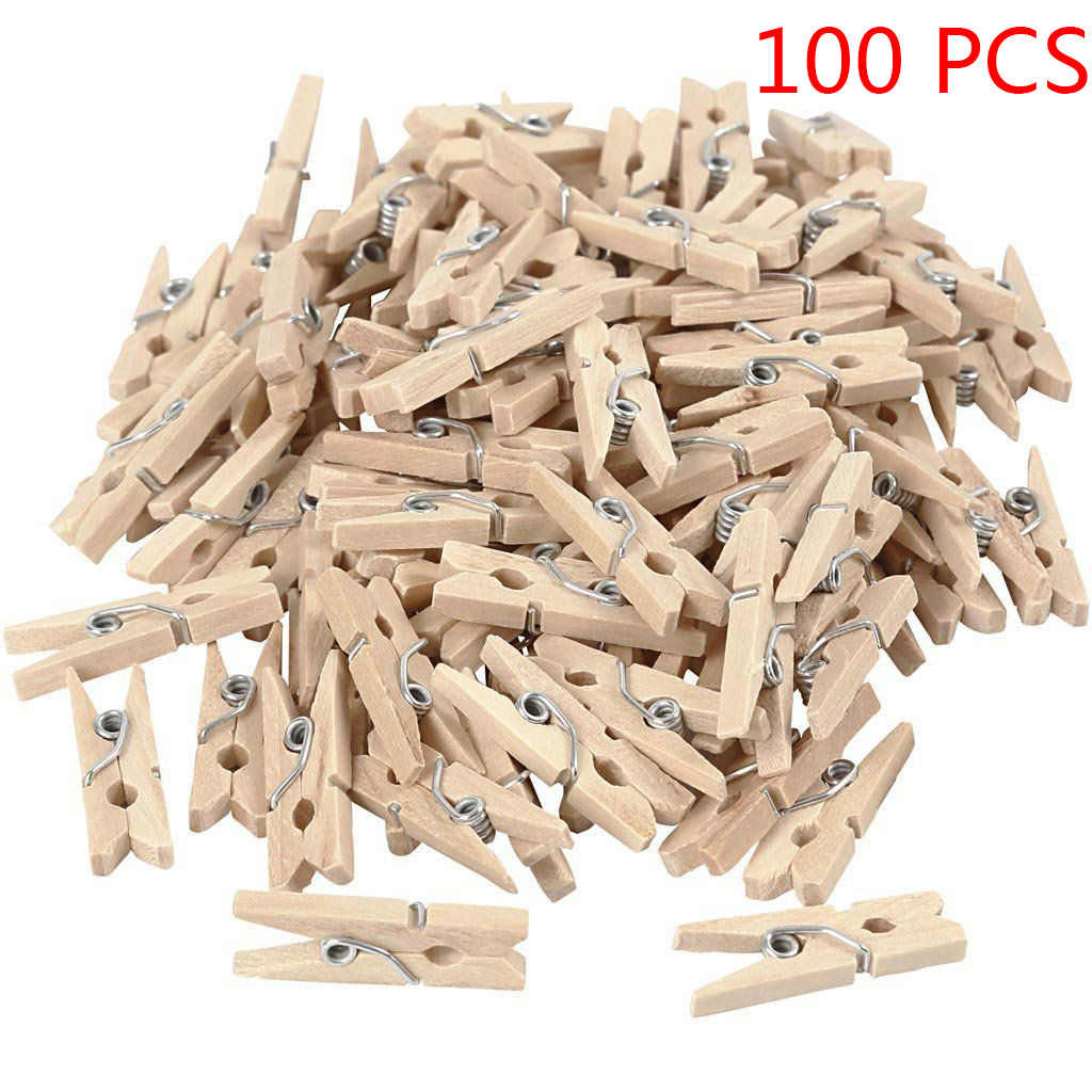 50pcs/100pcs Mini Natural Wooden Clips for Photo Clips Craft Decoration Clips  25mm