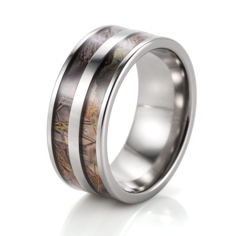 Mens Titanium Double Barrel real tree Camo Ring Engagement Camouflage wedding band anel anillo