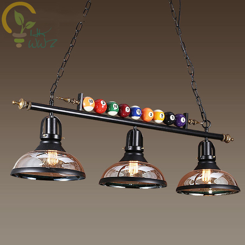 Creative Pool Table Pendant Lamp Nordic Decorate Lights Retro Industrial E27 Pendant Lights Restaurant Bar Cafe Hanging Lamp-in Pendant Lights from Lights & Lighting