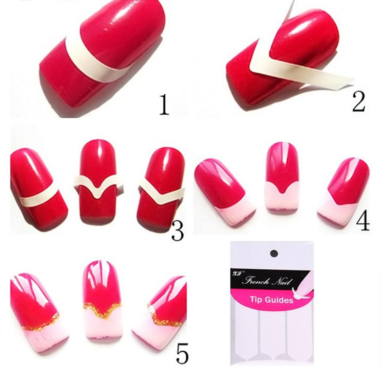 New French DIY Manicure Nail Art Tips Decals Creative Nail Tape ...