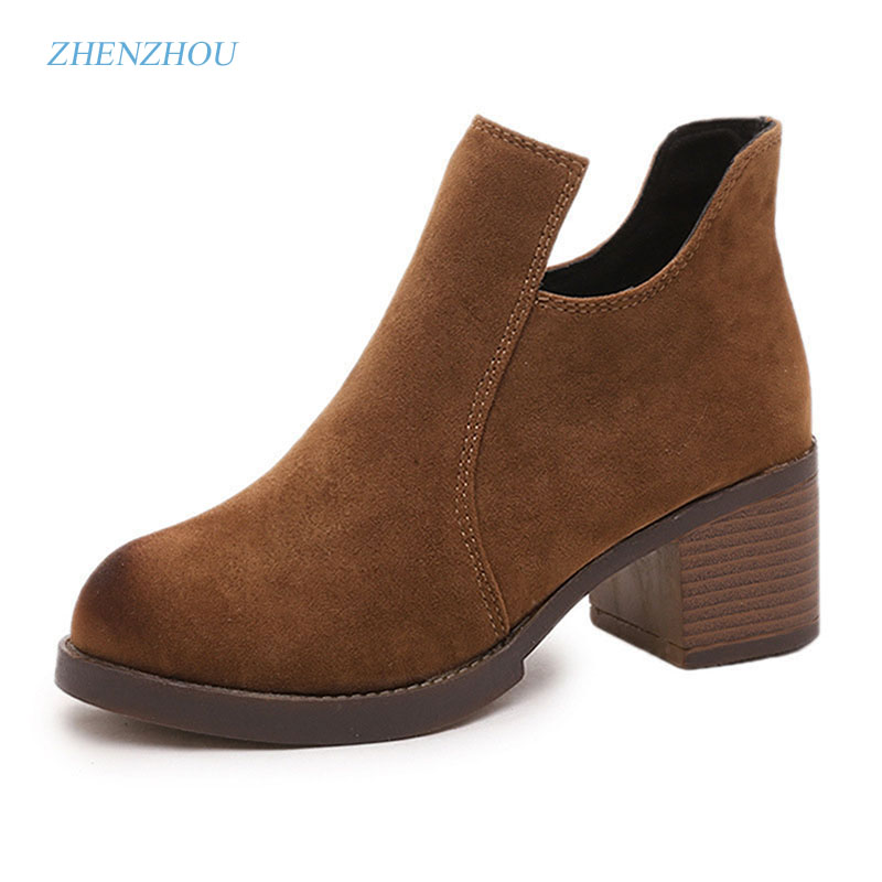 zhenzhou Autumn/winter 2015 new Europe and America frosted vintage Coarse heel zipper Short boots han edition Martin's boot the hound of the baskervilles