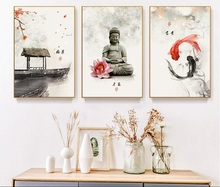 New Chinese ink Flowers Buddha Wall Art Print And Posters Picture Canvas Painting Poster for Living Room Decoration No Framed