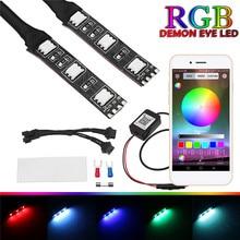 2 uds. Circular de proyector RGB Led, lámpara de ojo de demonio, lámpara Universal para el faro del coche, reequipamiento de la aplicación remota de Control
