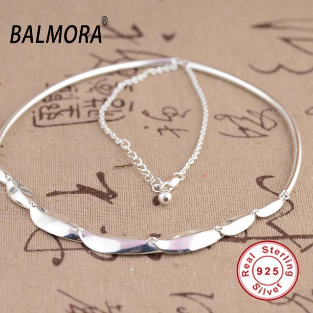 BALMORA 100% Real 925 Joyería de Plata Esterlina 45 cm Torques Collares Mujeres Hombres Accesorios Regalos Del Partido Collares JLWC80666