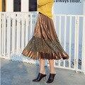 Весна Корея ретро высокая талия тонкий кружева шить атласа плиссированные юбки в длинный отрезок юбка