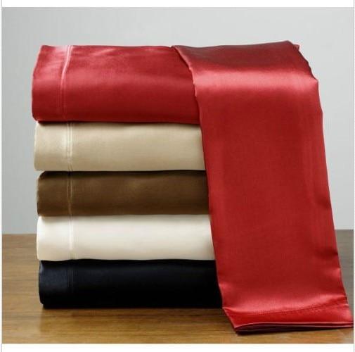 Wholesale 100 Soft Skin Satin Silk Bed Sheet Pillowcases
