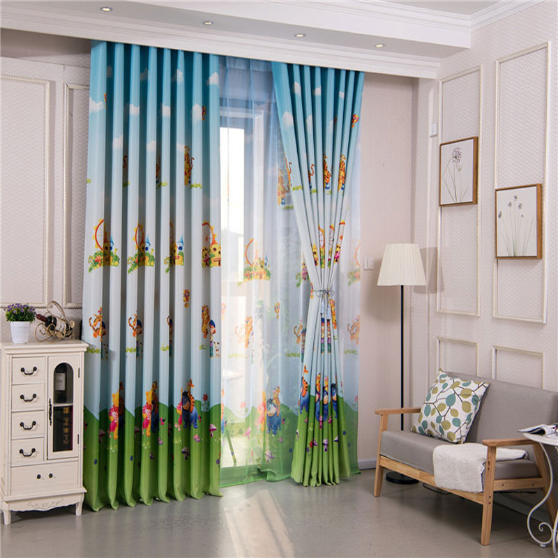 Blue American Style Cartoon Character Bear Curtains For Bedroom Children Custom Green Fabric Blind Cortina In From Home Garden On Aliexpress