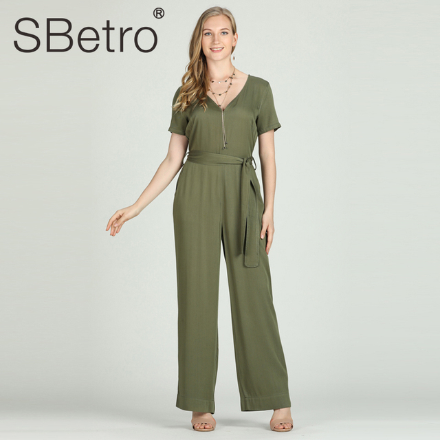 SBetro Rompers Womens Jumpsuits Long Sleeve Solid Female Casual High Waist Maxi Plus Size Belted Jumpsuits V Neck Autumn Spring