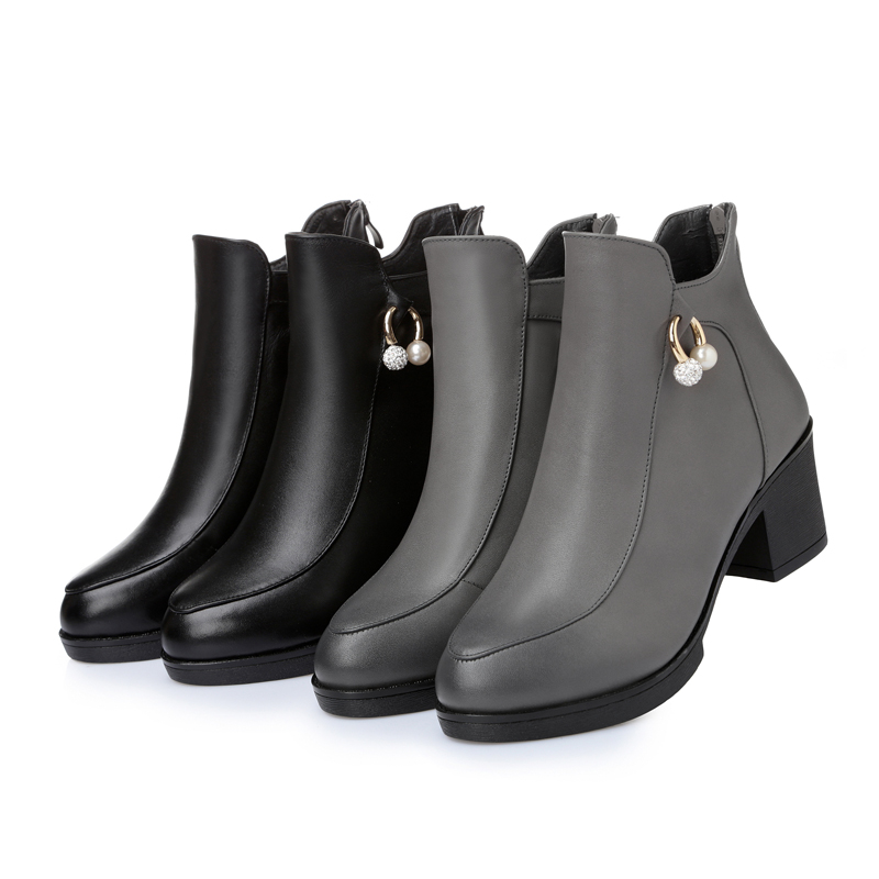 ФОТО 2016  winter genuine leather ankle boots in women with large size 35-43 # Martin boots, high quality women's boots Free Shipping