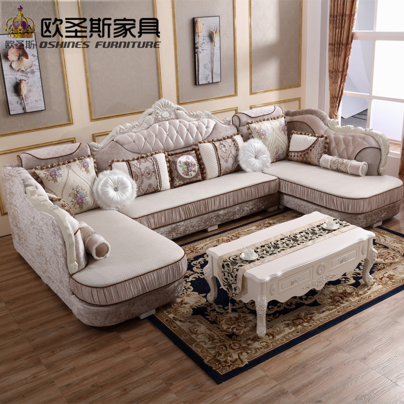 luxury U shaped sectional living room furniutre Antique Europe design new classical heart wooden carving fabric sofa sets 8019 luxury l shaped sectional living room furniutre antique europe design classical corner wooden carving fabric sofa sets 6831