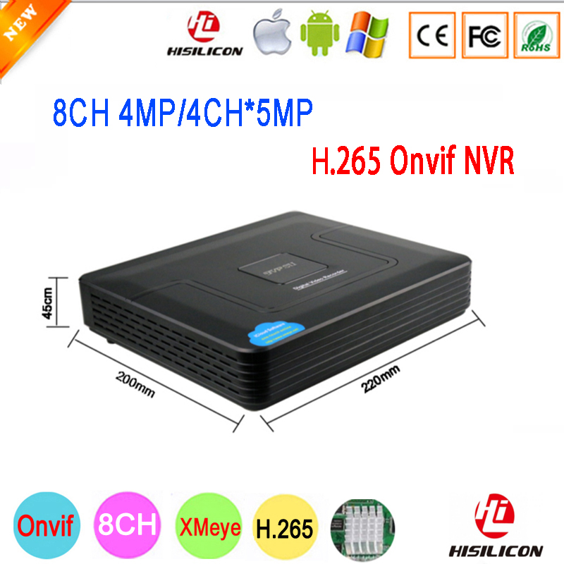 Черный Мини Hi3536D Xmeye 8CH * 4MP/4CH * 5MP 8-канальный 4mp/4 канала 5MP H.265 наблюдения IP Onvif Камера NVR Бесплатная доставка