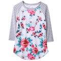 Estilo de Primavera y verano Las Mujeres Blusa de Algodón Señoras de la Impresión Floral Redondo cuello 3/4 de La Manga de La Blusa 2016 Camisa Blusas Superior Y Camisas Mujer