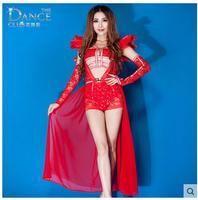 Çarpıcı Kırmızı tüy elbise seksi şifon elbise hollow gece oyunları prenses sahne caz dans elbise/ds performansları dantel elbise