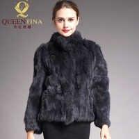 2019 hohe Qualität Echt Pelzmantel Mode Echtem Kaninchen Fell Mäntel Elegante Frauen Winter Outwear Stehen Kragen Kaninchen Pelz Jacke