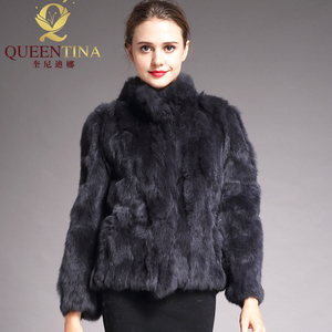 Image 1 - 2020 High Quality Real Fur Coat Fashion Genuine Rabbit Fur Overcoats Elegant Women Winter Outwear Stand Collar Rabbit Fur Jacket