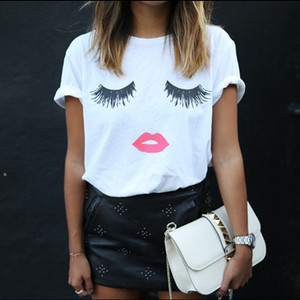 5xl Tshirt Women Tops Summer O-neck Eyelash Lips Print Women's T Shirt Short Sleeve Plus Size White Black T-shirt Tees Blusa