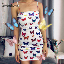 Sweetown Colorful Butterfly Printed Cute Summer Beach Dress Women Adjustable Spaghetti Strap Dresses Woman Party Night Harajuku
