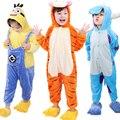 Фланель Pijamas Дети Косплей Мультфильм Животных Младенца Мальчики Девочки Пижама Home Clothes tiger Салливан Пижамы Дети Onesie Пижамы