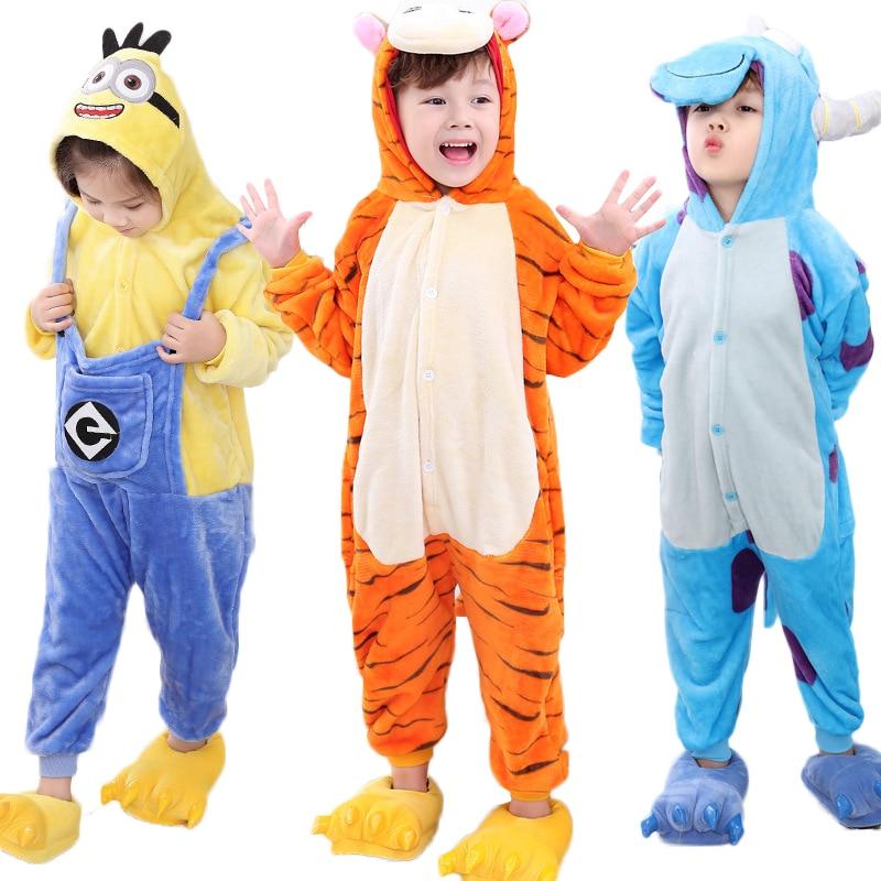 Flannel Pijamas Kids Cosplay Tecknad Djur Barn Pojkar Tjejer Pyjamas - Barnkläder