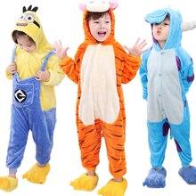 Купить с кэшбэком Flannel Pijamas Kids Cosplay Cartoon Animal Baby Boys Girls Pyjamas Home Clothes tiger Sullivan Pajamas Kids Onesie Sleepwear