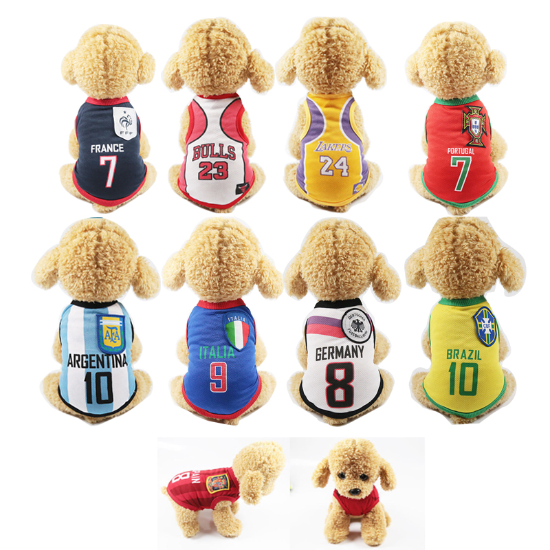 Summer Doggie Clothes Sport Dog Vest Pet Clothing polo shirt for bulldog Teddy NBA Football Jerseys Clothes For Small Medium Dog image