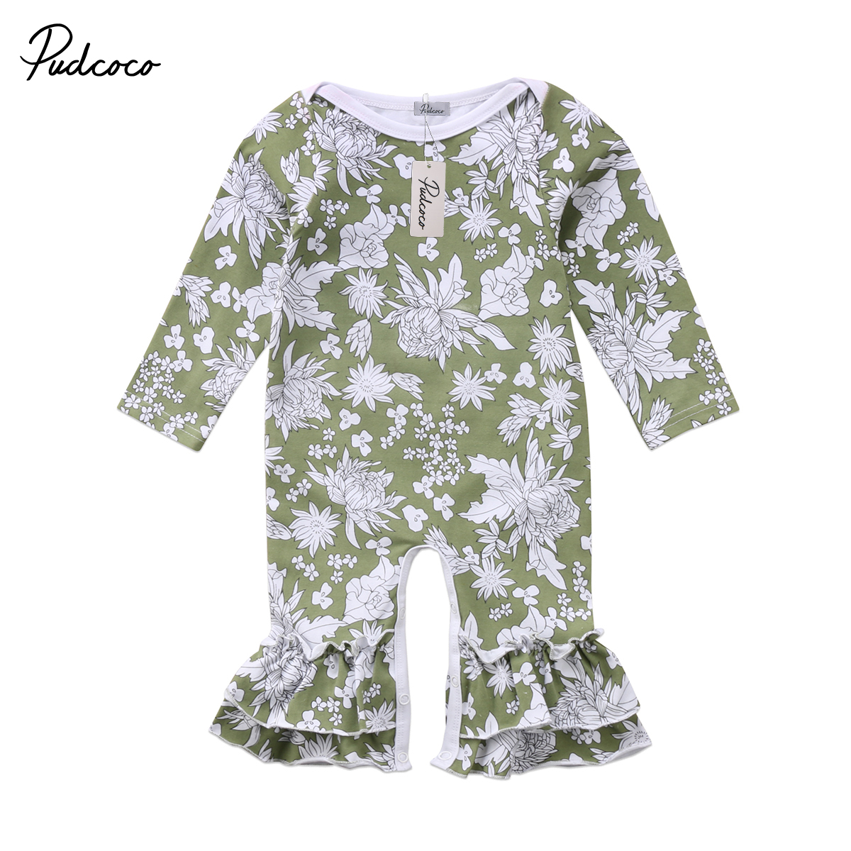 Flower Baby Girls Clothing Newborn Baby Girl Floral Cotton Long sleeve Ruffle Rompe Jumpsuit Playsuit Clothes Outfit 0-2T