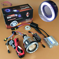 Motorcycle Headlight Lens AC 35w CCFL Angel Eyes Halo Hid Bi xenon Projector Lens Kit H1 H4 H7 9005 9006 HB3 HB4 4300K 6000K