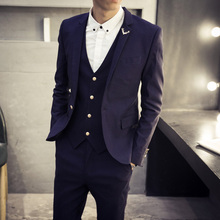 2017 spring and autumn version of the Korean version of self-cultivation men's suits fashion trends hair stylist suit three set