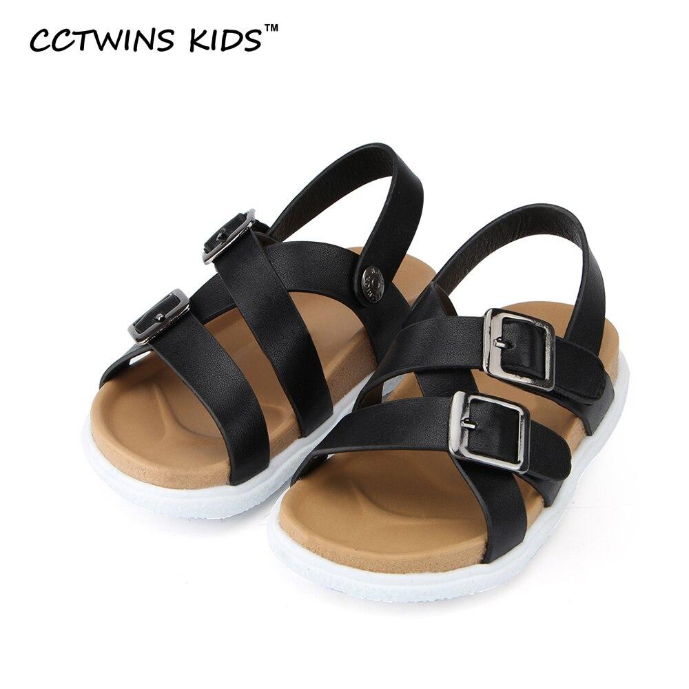 Black sandals for toddler boy - Cctwins Kids 2017 Spring Summer Fashion Beach Sandals Children Pu Leather Flat For Baby Boy White Shoe Toddler Black Kid Slipper