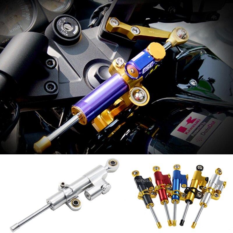 ФОТО Universal Adjustable CNC Motorbike Motorcycle Steering Damper Stabilizer Linear Reversed Safety Control for Yamaha Honda