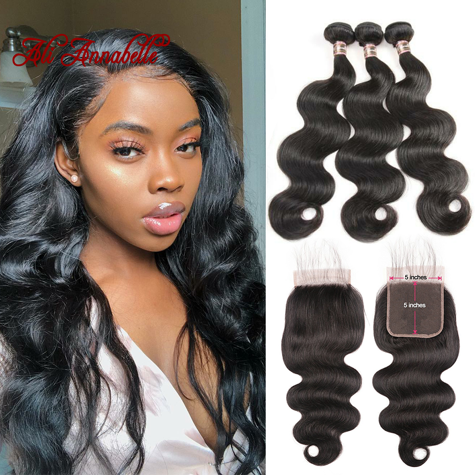 Malaysian Body Wave With Closure 3 Bundles Human Hair Weave Bundle Remy Hair 5 5 Lace