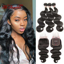 Malaysian Body Wave With Closure 3 Bundles Human Hair Weave Bundle Remy Hair 5*5 Lace Closure 4PC Human Hair Bundle With Closure(China)